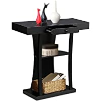 Yaheetech 3 Tier Black Console Tables for Entryway with Storage Shelf & Drawers