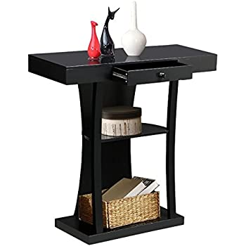entryway table with drawers. yaheetech 3 tier console sofa tables with drawers living room pedestal entry table black entryway