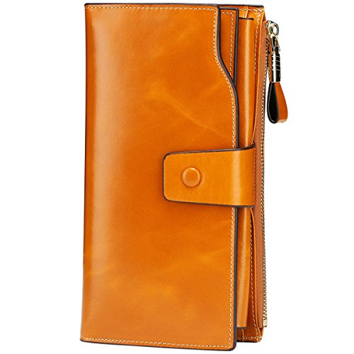 Tan Leather Travel Wallet (Itslife Women's RFID Blocking Large Capacity Luxury Wax Genuine Leather Cluth Wallet Ladies Card Holder (Tan RB))