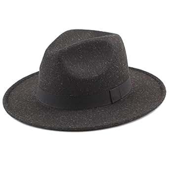 Romacci Unisex Felt Trilby Hats Wide Brim Adjustable Fedora Jazz Hat Caps