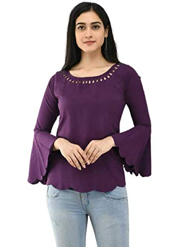 NOBEY Casual Bell Sleeve Solid Women Top