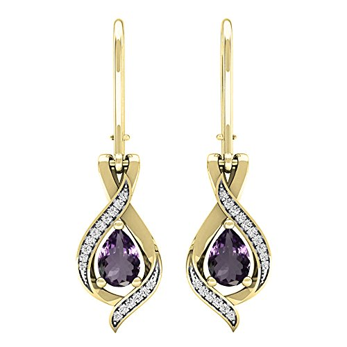 (Dazzlingrock Collection 18K 7X5 MM Each Pear Amethyst & Round White Diamond Ladies Drop Earrings, Yellow Gold)