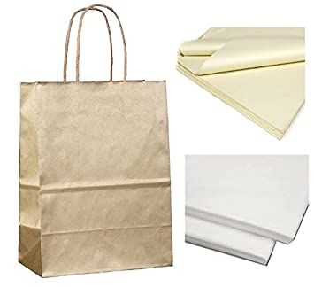 x 10 GOLD PAPER GIFT BAGS WITH TISSUE SHEETS - CHRISTMAS ...