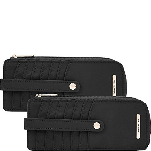 Travelon Set of 2 RFID Anti-Theft Tailored Slim Zip Wallets (Onyx & Onyx)