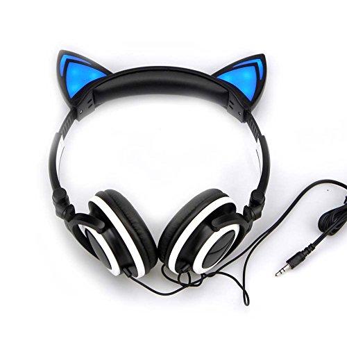 (Cat Ear Headphones with Glowing Lights (Black))