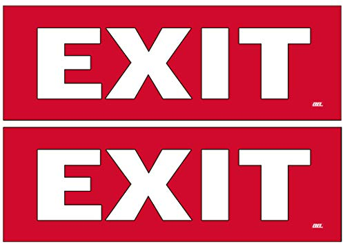 2 Pack Exit Red Sticker Set Sign Warning 9x3 Inch Vinyl Decal Indoor Outdoor Window Door Business Retail -