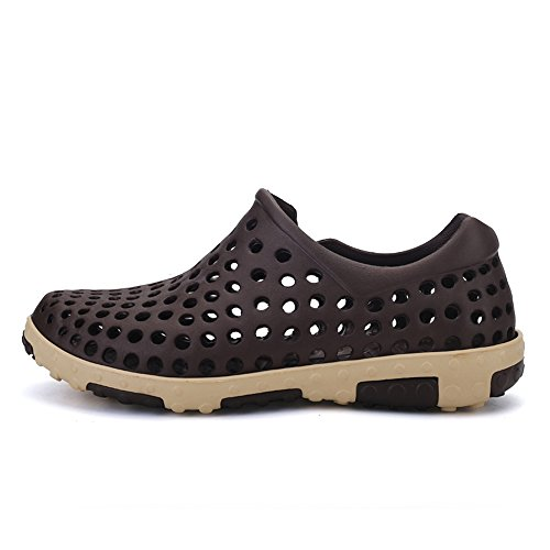 Men's Shoes Feifei Plastic Material Comfortable and Breathable Leisure Grid Outdoor Sandals Beach Shoes (Color Multiple Choice) Brown h5ouuTp