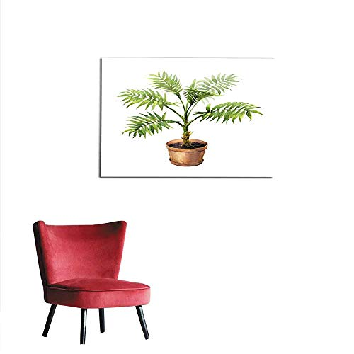 (homehot Painting Post Palm in Clay Flowerpot Mural 48