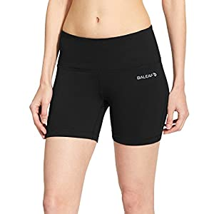 Baleaf Women's High Waist Yoga Shorts Tummy Control Inner Pocket Black Size L