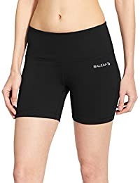"Women's 5"" High Waist Workout Yoga Shorts Tummy Control Inner Pocket for 5.5"" Mobile Phone"