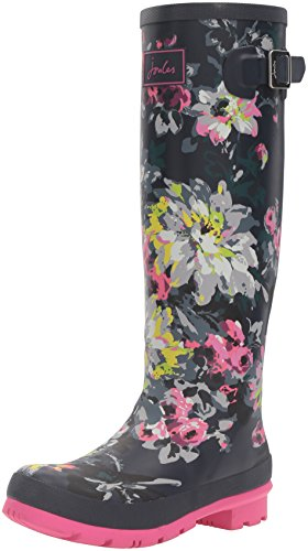 Joules Women's Wellyprint Rain Boot, French Navy/Floral, 5 M US