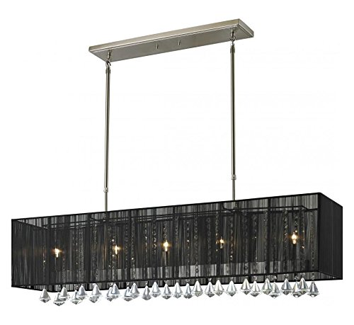 890-45BK Brushed Nickel Aura 5 Light Chandelier with Black Shade ()