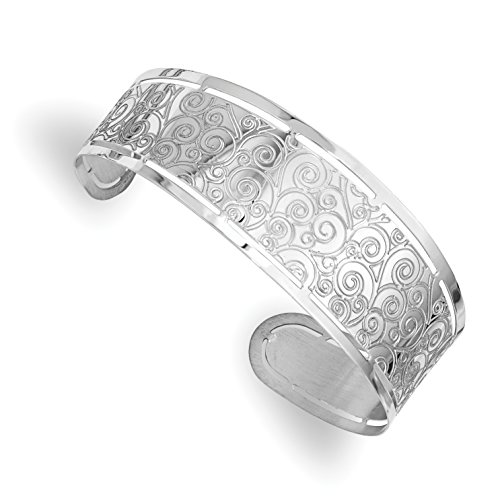 ICE CARATS 925 Sterling Silver Etched Cuff Bangle Bracelet Expandable Stackable For Women by ICE CARATS