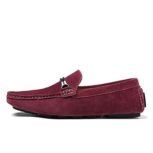 Corte Cuero Para Wine Conducción Ocasionales Mocasín Hombre Zapatos Red Antideslizante Mocasines De Clásico En qOX6xzwzt