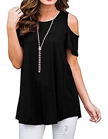 973ea55dbf5e90 PCEAIIH Women s Short Sleeve Casual Cold Shoulder Tunic Tops Loose Blouse  Shirts