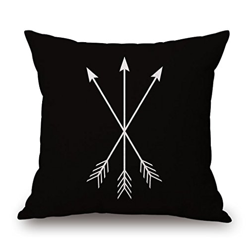 18 X 18 Inch Black and White Simple Geometric Designs Cotton Linen Decorative Throw Pillow Cover Cushion Case Pillowcase(B, 12) (Shop Throw Pillows)