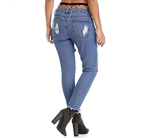 Pantalones Mujeres Loose Calcetines Vaqueros Denim de Azul Jeans Negra Fishnet Medias Rejilla Rotos WanYang Con nEYqpwEd