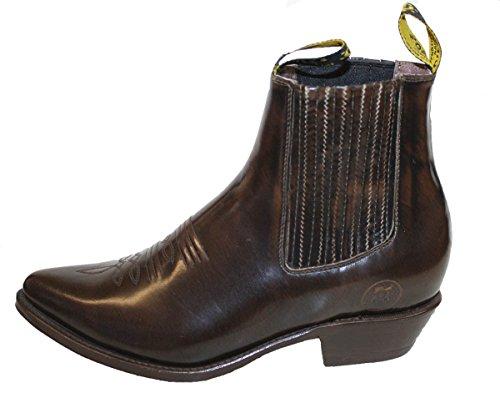Stivali Da Cowboy Genuini Della Mucca Della Caviglia Della Mucca Genuina Del Brown