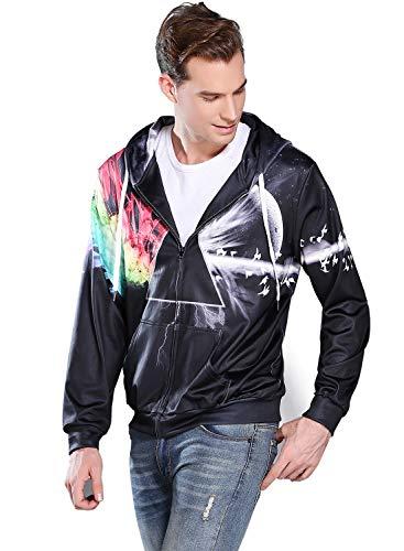 (Sankill Unisex 3D Galaxy Zipper Hoodie Sweatshirt Fleece Pullover Hooded Shirts Pocket )
