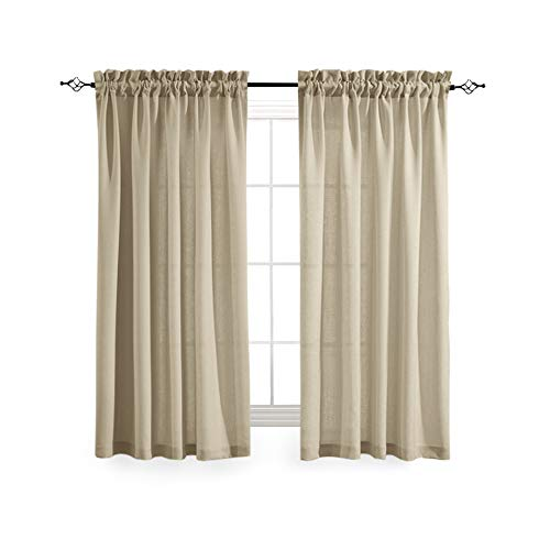 Casual Weave Semi Sheer Curtains 63 Inch Length Rod Pocket Linen Textured Privacy Voile Panel Window and Door Draperies (2 Panels, Beige)
