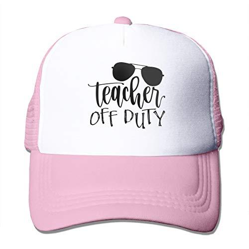 (Teacher Off Duty Mesh Baseball Caps Unisex Adjustable Trucker Hat Pink)