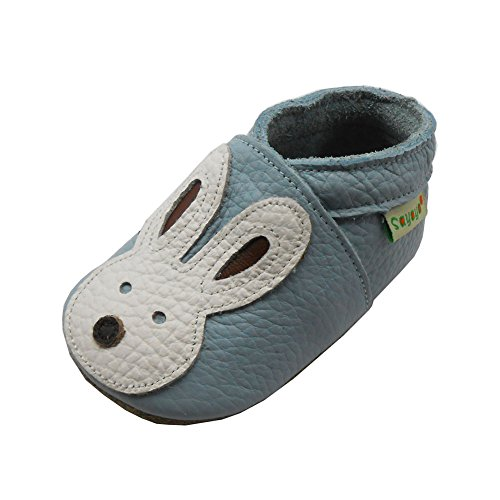 Sayoyo Baby Cute Bunny Soft Sole Light Blue Leather Infant And Toddler Shoes -
