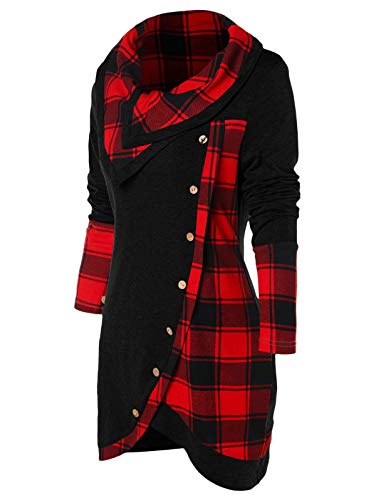(Nihsatin Cowl Neck Sweatshirts for Women Tunic T Shirts Plaid Long Sleeves Asymmetrical Tops Lightweight)