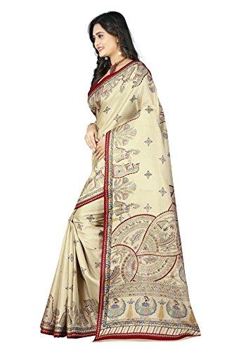 Jaanvi fashion Women's Khadi Silk Madhubani Figure Printed Saree (Red) by Jaanvi fashion (Image #1)