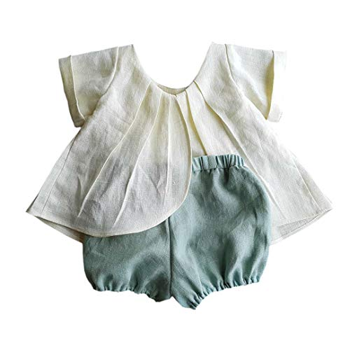 - Infant Baby Girls Natural Linen Short Clothes Set T-Shirt Top+Short Bloomers Outfits (Collarless+Green, 12-18Months)