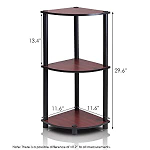 Furinno 12077DC/BK Turn-n-Tube Multipurpose 3-Tier Corner Shelf, Dark Cherry/Black