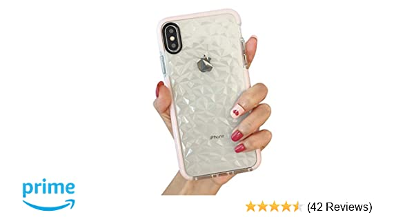 Iphone Xs Max Case Kerzzil Clear Tpu 3d Diamond Pattern Case Cover Anti Drop Anti Sratch For Women Girls Compatible For Apple Iphone Xs Max Pink