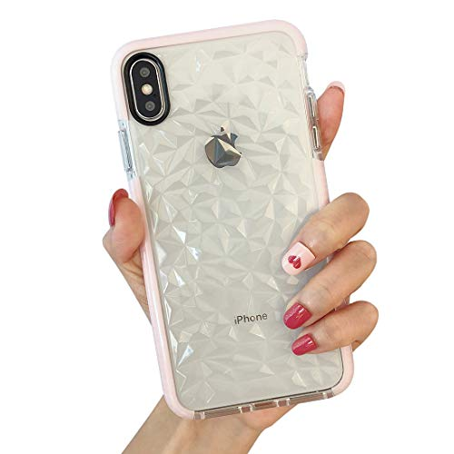 iPhone Xs Max Case, KERZZIL Clear TPU 3D Diamond Pattern Case Cover Anti-Drop Anti-Sratch for Women Girls, Compatible for Apple iPhone Xs Max - Pink Clear