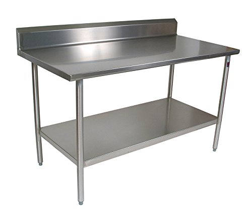 (John Boos CUCTAXX Cucina Americana Tavalo Kitchen Prep Table with Riser Casters: Included, Size: 60x30)