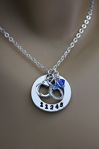 Badge Handcuff - Police Wife, Police Mom, Police Daughter Hand Stamped Necklace with Custom Badge Number, Handcuffs & Blue Swarovski Crystal Bead