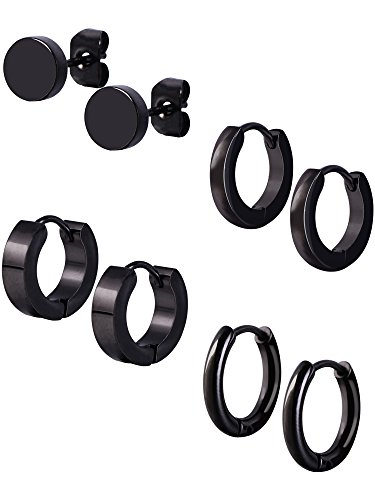 Mudder 4 Styles Stainless Steel Hoop Earrings Stud Earrings Huggie Piercing for Men and Women, 18 Gauge, 4 Pairs (Black)