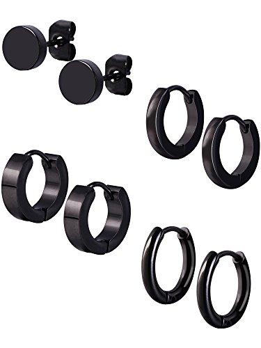Price comparison product image Mudder 4 Styles Stainless Steel Hoop Earrings Stud Earrings Huggie Piercing for Men and Women,  18 Gauge,  4 Pairs (Black)
