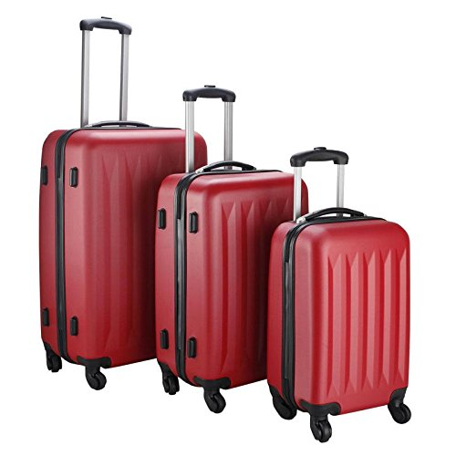 New Red 3 Pcs Luggage Travel Set Bag ABS Trolley Suitcase