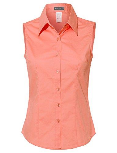 - LE3NO Womens Lightweight Cotton Sleeveless Button Down Shirt