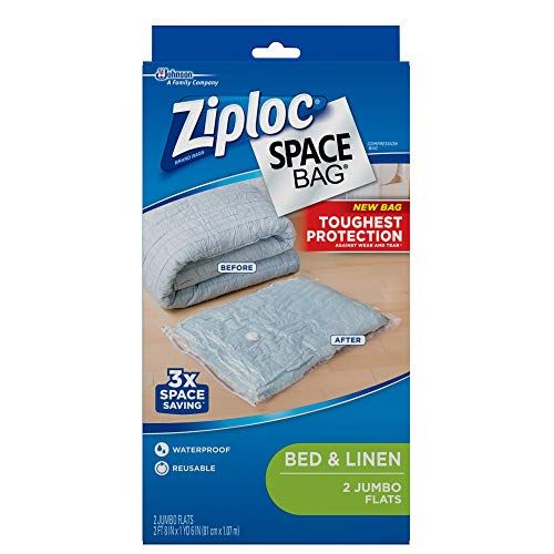 Ziploc Reusable Clothes Storage Bags, 2 Jumbo Vacuum Seal Storage Bags, Space Bags