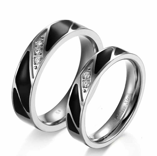 MoAndy Mens Stainless Steel Rings Black Silver Classic Cubic Zirconia Wedding Eternity Bands Size 10 (Base For 55 Inch Lg Tv)