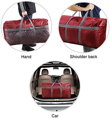 CAMPMOON Extra Large Duffle Bags for Mens Travelling, 96L Oxford Foldable Lightweight Duffel Bag for Travel Camping, Wine Red