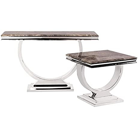 Howard Elliott 38003 Stainless Steel Side Table With Stone Top And Faux Marble Finish