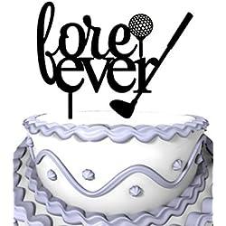 Meijiafei Cursive Forever Golf Silhouette Custom Wedding Anniversary Cake Topper