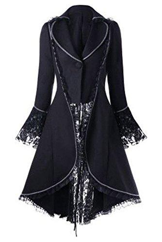 Encaje Steampunk Cintura Vintage Negro para Victoriano Abrigo Mujer Tuxedo Recoger lancoszp Swallowtail de C5RwzZ