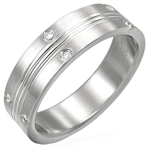 Zense-Bague-homme-en-acier-bross-Zense-ZR0044-sertie-de-diamants-CZ-avec-rainures