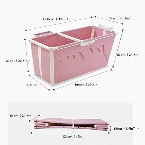 ポータブル折り畳み式のバスタブ、収納ボックス/プッシュプル風呂蓋、大人/子供のためのノンスリップキープ温度で区切りファミリーバスルームSPA入浴バケツ,ピンク