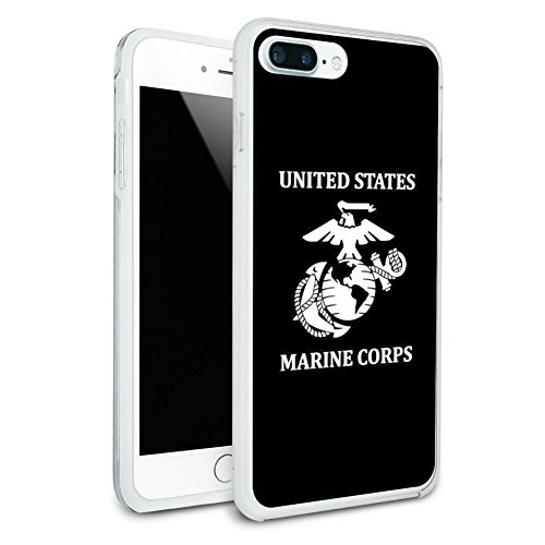 United States Marine Corps USMC White Black Officially Licensed Protective Slim Fit Hybrid Rubber Bumper Case Fits Apple iPhone 8 Plus