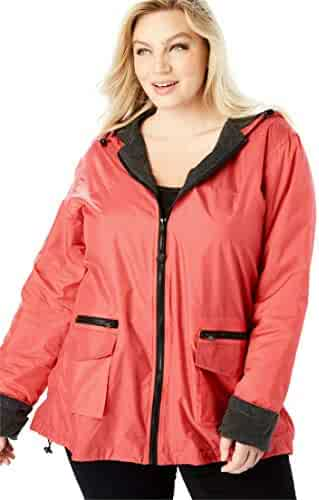 a5c92edf1b6 Roamans Women s Plus Size Hooded Nylon Jacket With Fleece Lining