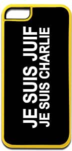 JE SUIS JUIF-JE SUIS CHARLIE- Case for the APPLE IPHONE 5C ONLY-Hard YELLOW Plastic Outer Case