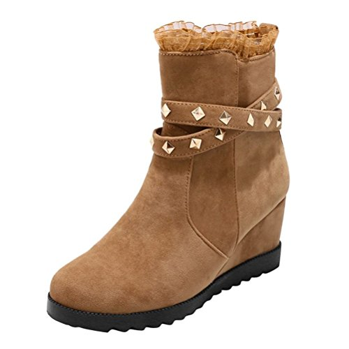 High Agodor Heels Nubuck Height Toe Wedges Boots Ankle Mid Lace Shoes Apricot with Round Increased Womens wwraRqBcWP